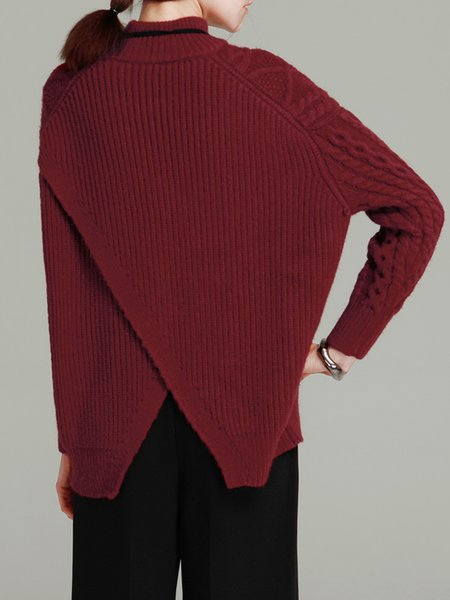 Wine Red Batwing Turtleneck Knitted Sweater - StyleWe.com