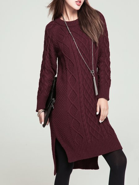 Long Sleeve Knitted Casual Sweater Dress