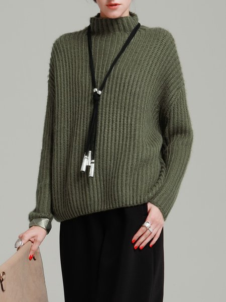 Olive Green Plain Wool Blend Long Sleeve Sweater