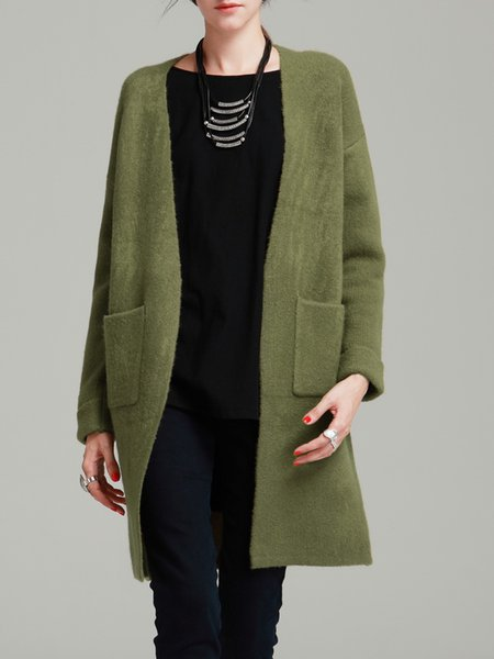 Olive Green Solid Simple H-line Cardigan