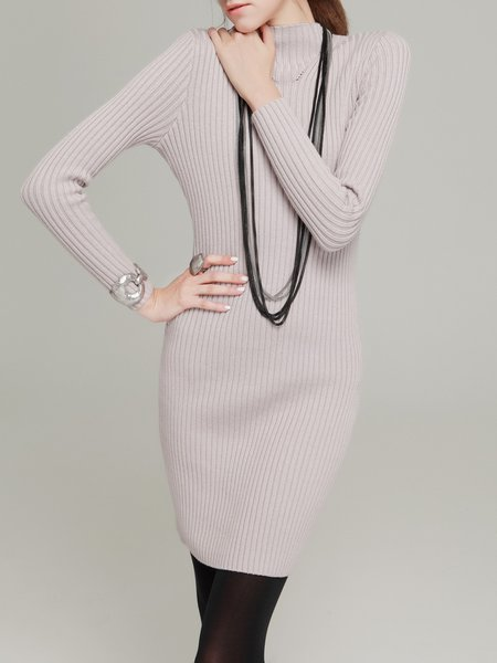 Purple Cotton-blend Long Sleeve Plain Mini Dress
