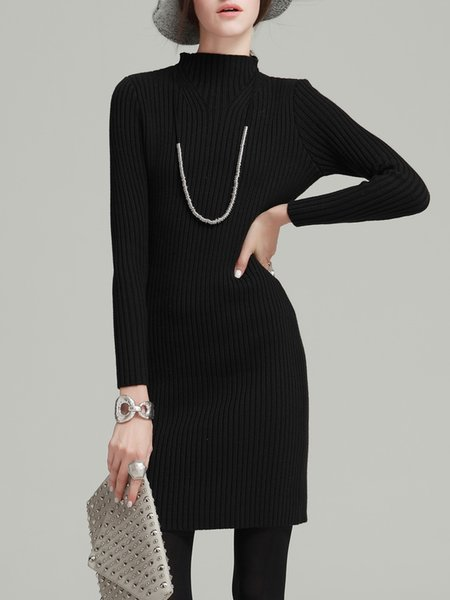 Long Sleeve Simple Cotton-blend Knitted Mini Dress