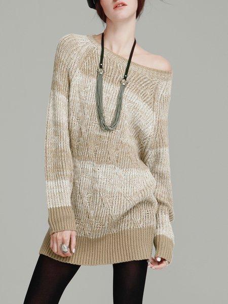 Batwing Crew Neck Stripes Casual H-line Cotton-blend Sweater Dress