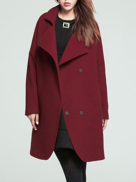 Slit Long Sleeve Simple Lapel Wool Blend Coat