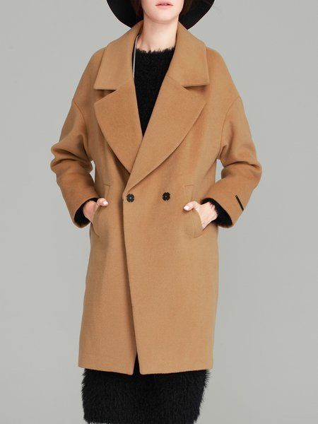 Long Sleeve Simple Solid Wool blend Coat