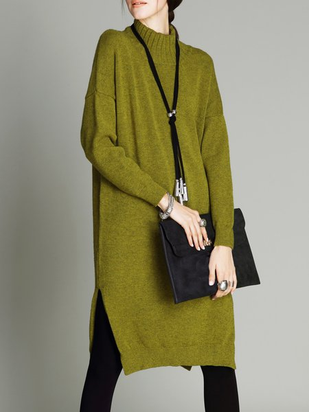 Mustard Solid Long Sleeve Turtleneck H-line Midi Dress