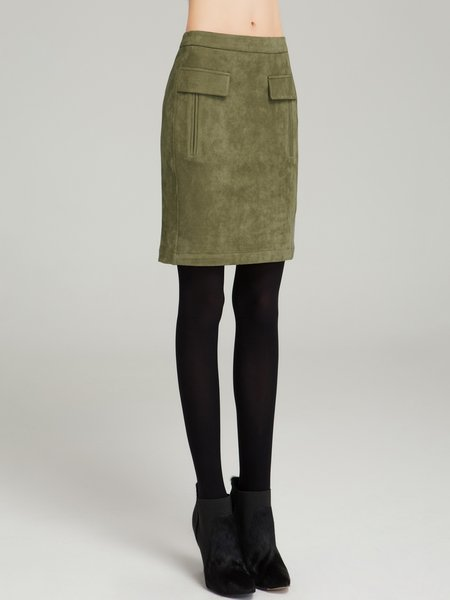 Army Green H-line Simple Mini Skirt