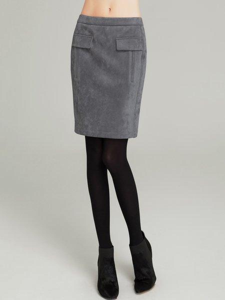 Gray Pockets Simple Mini Skirt