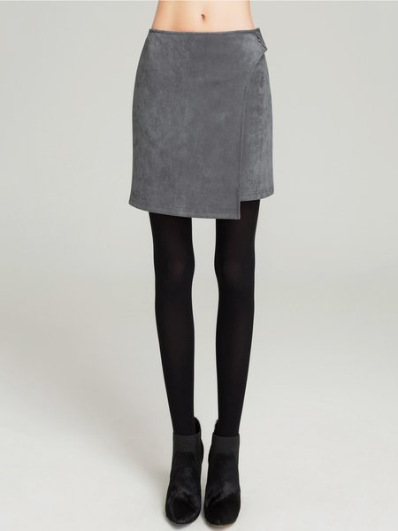 Asymmetric Sheath Simple Solid Mini Skirt