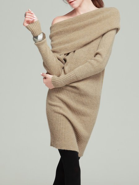 Apricot Long Sleeve Slit Solid Wool Blend Sweater Dress
