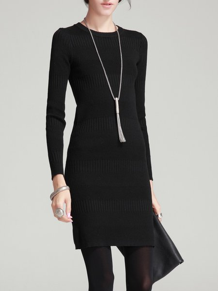 Crew Neck Sheath Simple Long Sleeve Mini Dress