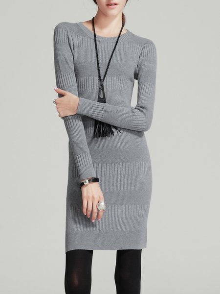 Gray Sheath Knitted Simple Crew Neck Mini Dress