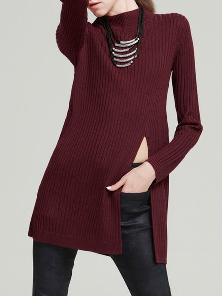 Wine Red Wool Blend Long Sleeve Turtleneck Slit Sweater