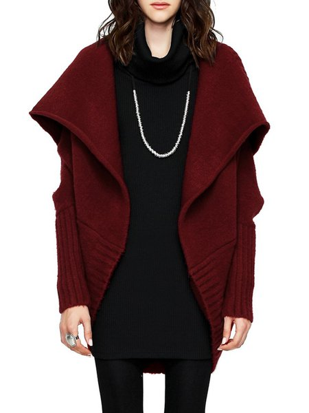 Batwing Knitted Casual Plain High Low Cardigan