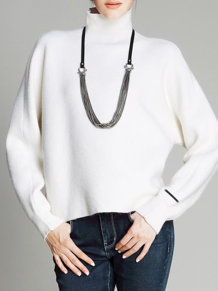 Turtleneck Simple Shift Knitted Long Sleeve Sweater