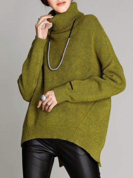 Solid Batwing Simple Slit Turtleneck Sweater