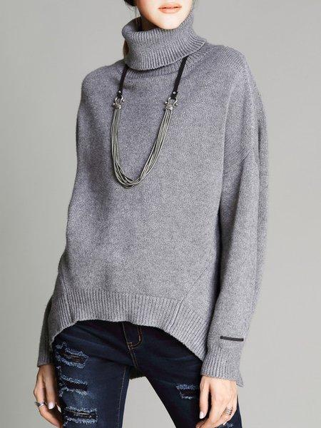 Simple Batwing Turtleneck Slit Sweater