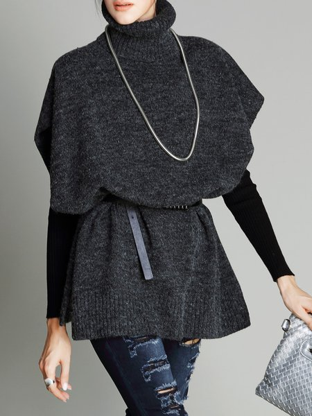 Deep Gray Simple Plain Sweater with Belt