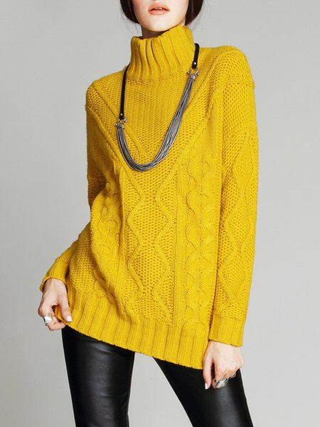 Yellow Plain Knitted Basic Turtleneck Sweater