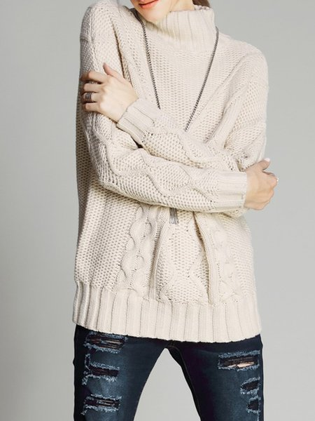 Acrylic Knitted Basic Turtleneck Long Sleeve Sweater