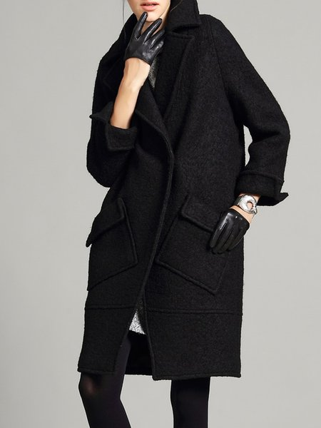 Lapel Simple Long Sleeve Wool blend Coat
