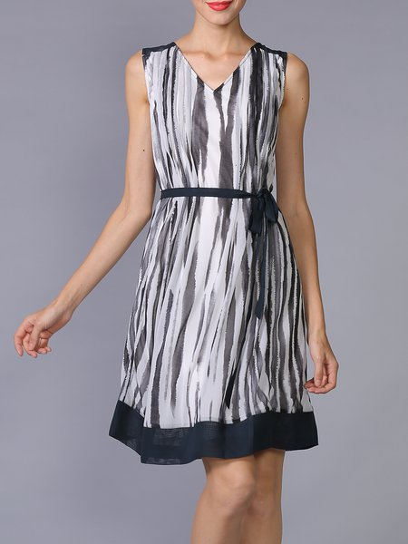 Sleeveless Stripes V Neck Casual A-line Mini Dress