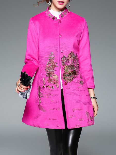 Long Sleeve Embroidered Graphic Vintage Coat