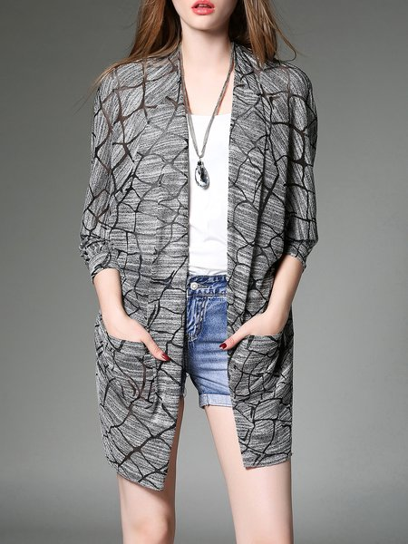 Gray Casual Knitted Cardigan