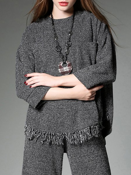 Gray Plain Polyester Casual Fringed Blouse