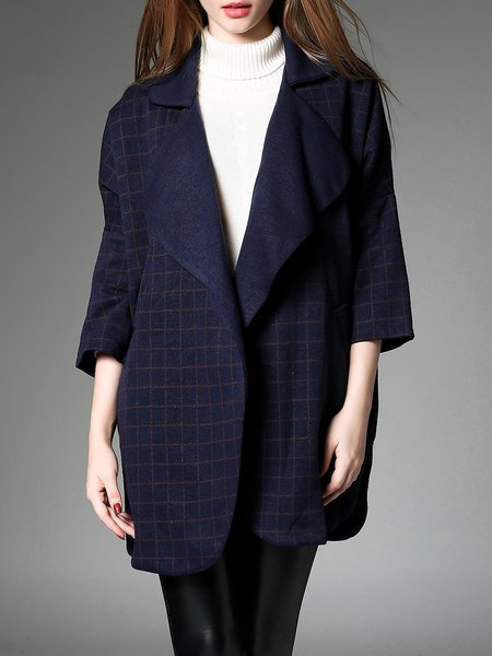 Navy Blue H-line 3/4 Sleeve Coat