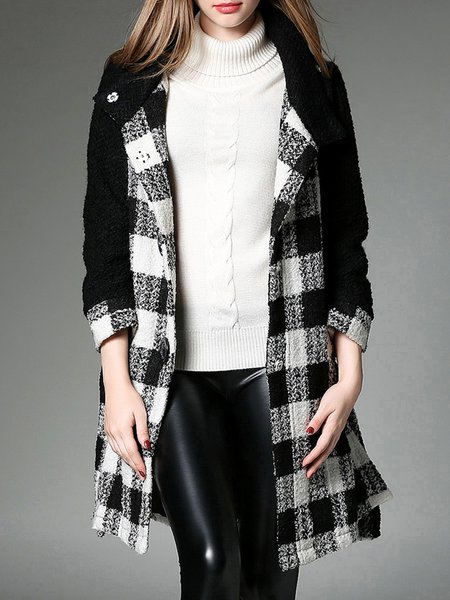 Long Sleeve Casual A-line Stand Collar Coat