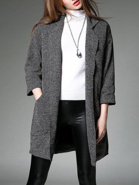 Casual 3/4 Sleeve Pockets Lapel Coat