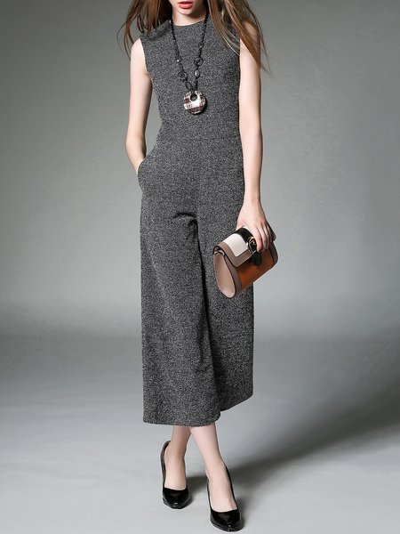 Gray Pockets Plain Sleeveless Jumpsuit
