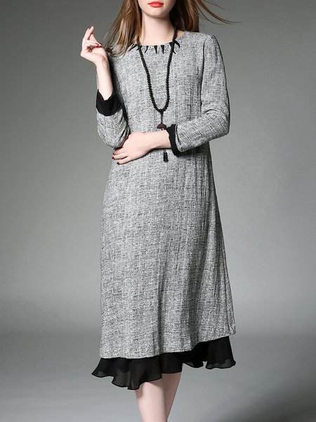 Gray Plain H-line Casual Midi Dress