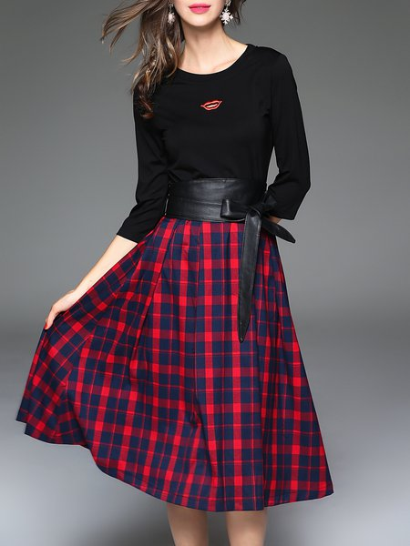 Red Checkered/Plaid 3/4 Sleeve Crew Neck Midi Dress With Belt