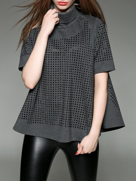 Gray Cotton-blend Turtleneck Rivets Short Sleeve Blouse