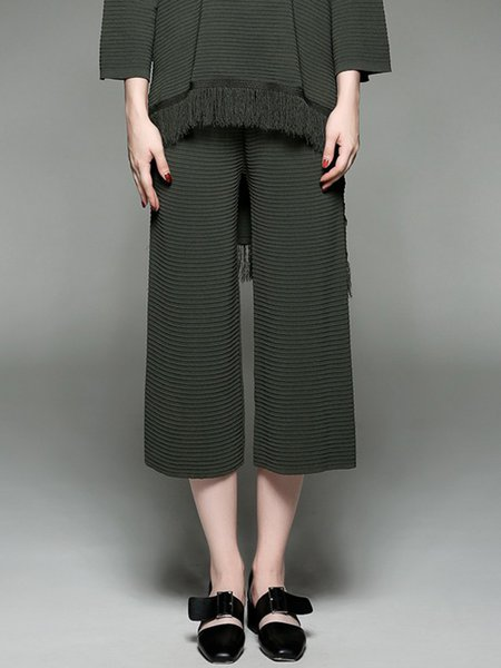 Army Green Knitted Casual Cropped Pants