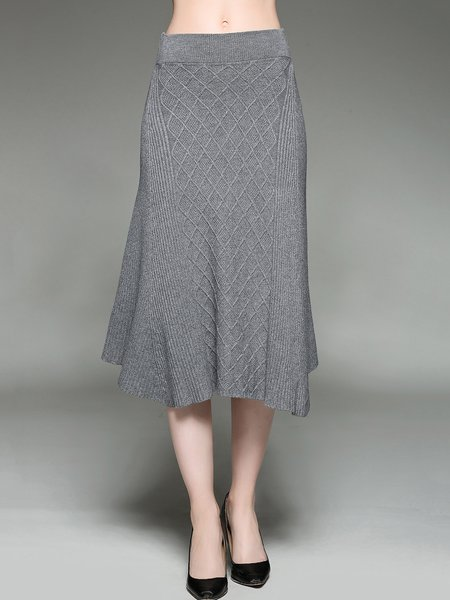 Gray Plain Knitted Asymmetrical Jacquard Casual Maxi Skirt