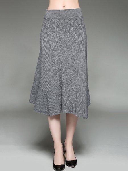 Gray Plain Knitted Asymmetrical Jacquard Casual Maxi Skirt