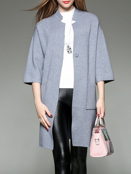 3/4 Sleeve Simple Knitted Pockets Cardigan