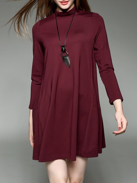 Long Sleeve Shift Casual Turtleneck Zipper Tunic