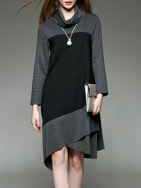 Long Sleeve Turtleneck Casual Color-block Asymmetrical Midi Dress