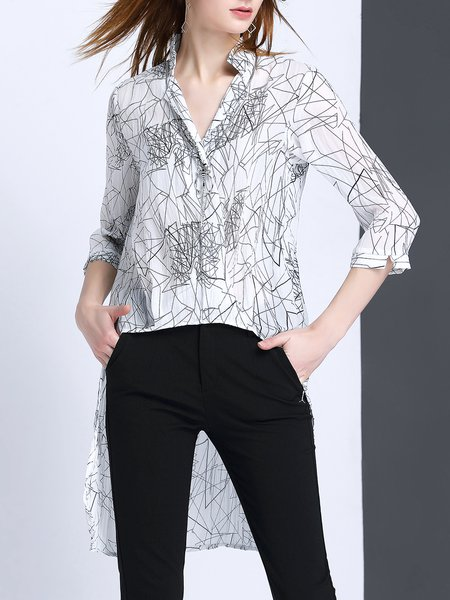 3/4 Sleeve Casual Geometric High Low Blouse