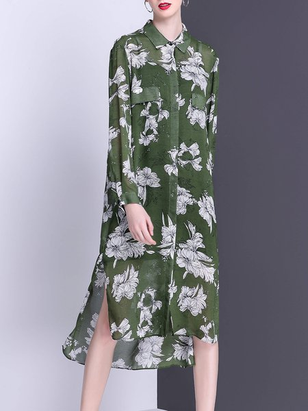 Slit Floral Casual High Low Shirt Dress