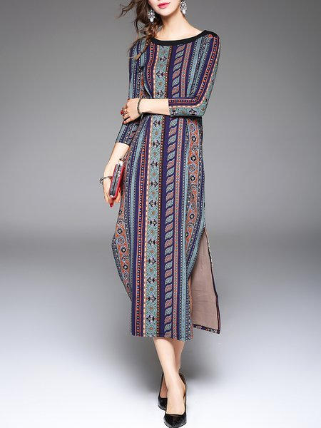 Long Sleeve Vintage Shift Crew Neck Slit Printed Midi Dress