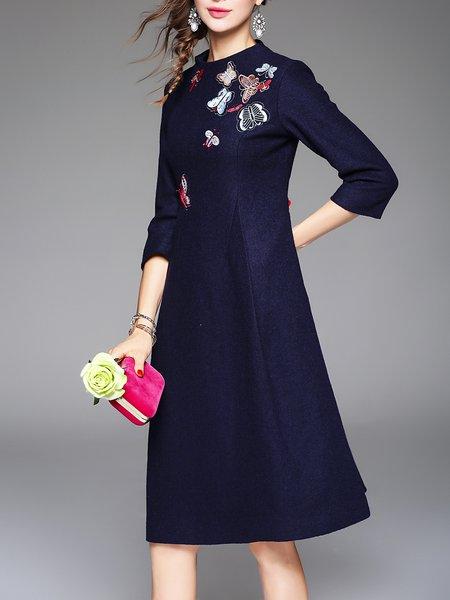 3/4 Sleeve Floral Vintage Appliqued Midi Dress