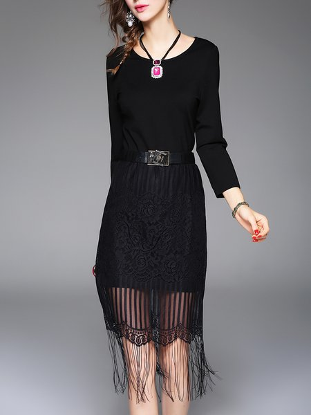 Black Long Sleeve Polyester H-line Fringed Midi Dress