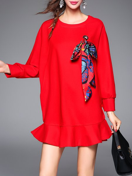 Long Sleeve Plain Crew Neck Casual Ruffled Mini Dress