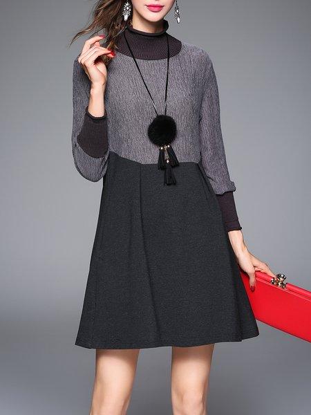 A-line Casual Long Sleeve Turtleneck Folds Pockets Mini Dress