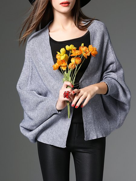 Gray Long Sleeve Knitted Solid Cardigan With Brooch